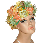 1950/60s Roberta Bernay Flower Hat w/ Faux Pearl Spray Accent
