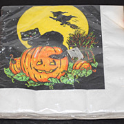 Set of Black Cat on Jack-o-Lantern w/ Flying Witch Napkins