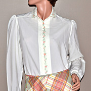 1970s Inner Visions ~ Ship N' Shore White Blouse Shirt