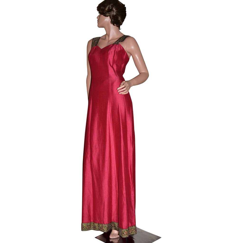 Bianchi Designer Ornate Christmas Red Maxi Gown
