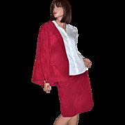 1970s Adolph Schuman for Lilli Ann ~ 2-Pc Christmas Red Blazer & Skirt