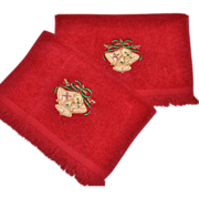 Cannon Set of 2 Christmas Bell Red Embroidery Fingertip Towels