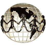 1980s AJC ~ Everybody Unite on Earth Pin/Brooch