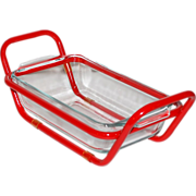 Glass Loaf Pan with Red Enamel Carrier/Holder