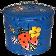 1960s Rustic Ladybug Decoupage Blue Chain Pail w/ Lid
