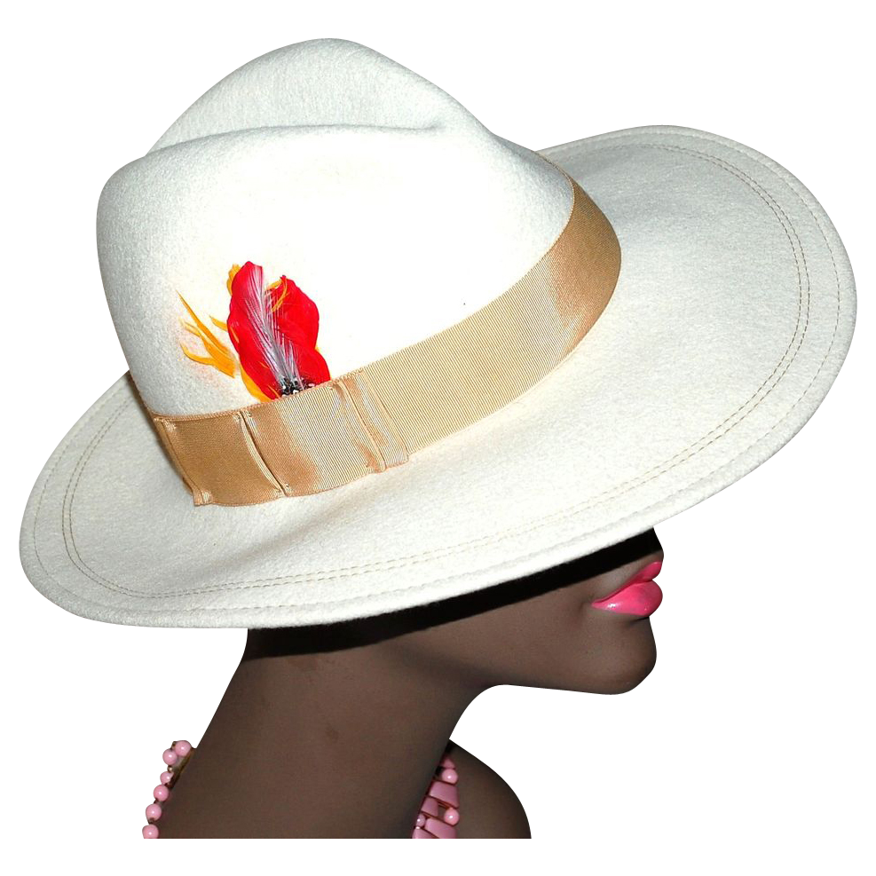 ASTRE Winter White Wool Fedora Hat with Feather Accent