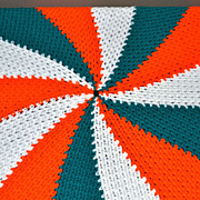 Round Orange & Green Crochet Candy Swirl Throw Blanket