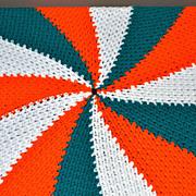 Round Orange & Green Crochet Candy Swirl Throw Blanket