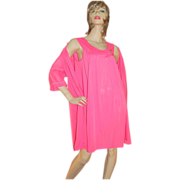1960s Lorraine 2-Pc Hot Pink Nylon Nightgown & Robe