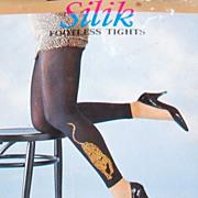 1970/80s Silik ~ Black Nylon Footless Leopard Tights or Leggings in Original Package