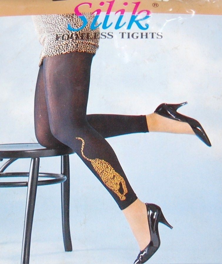 1970/80s Silik ~ Black Nylon Footless Leopard Tights or Leggings in Original Package