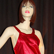 1980s Maidenform ~ Long Lipstick Red Satin Nightgown