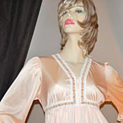 1970s Lorraine ~ Long Peach Nylon Lounging Gown/Robe