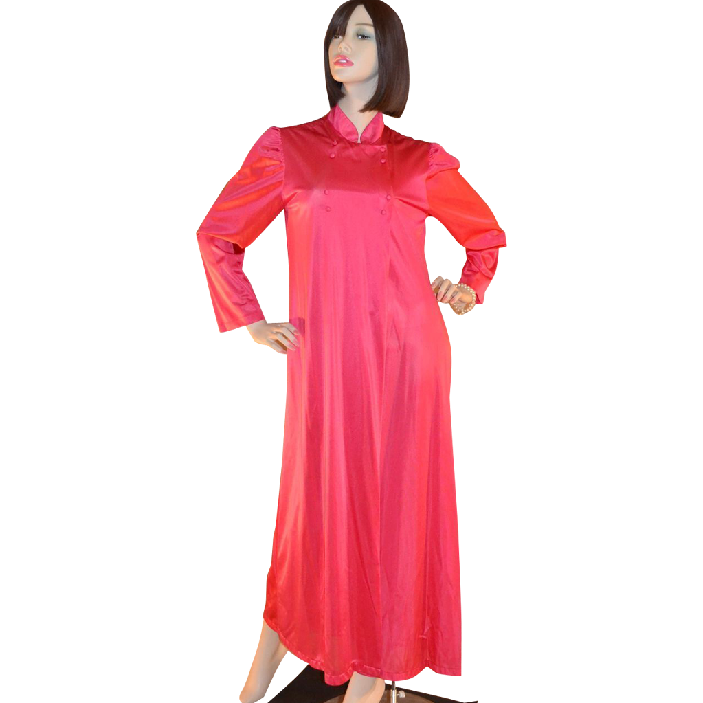 1970s Formfit ~ Asian-Inspired Cherry Red Nightgown or Robe