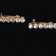 Art Deco Pave Set Clear Rhinestone Lingerie Pins
