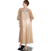 1960s Vassarette ~ Chocolate Brown Double Chiffon Caftan/Hostess Gown