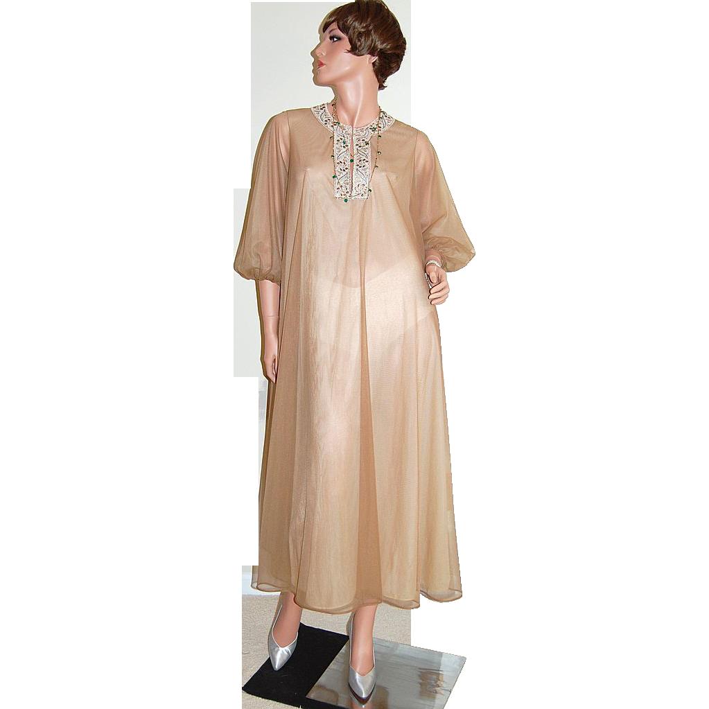 1960s Vassarette ~ Chocolate Brown Double Chiffon Caftan/Hostess Gown