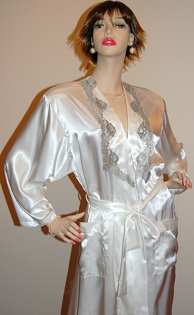 1980s Victoria's Secret ~ Satin Pearl & Silver Long Lace Robe