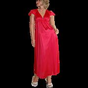1970s Vanity Fair ~ Lipstick Red Nylon Maxi Nightgown