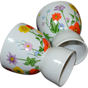 Lefton ~ Set of 2 Handpainted Floral Porcelain Egg Cups