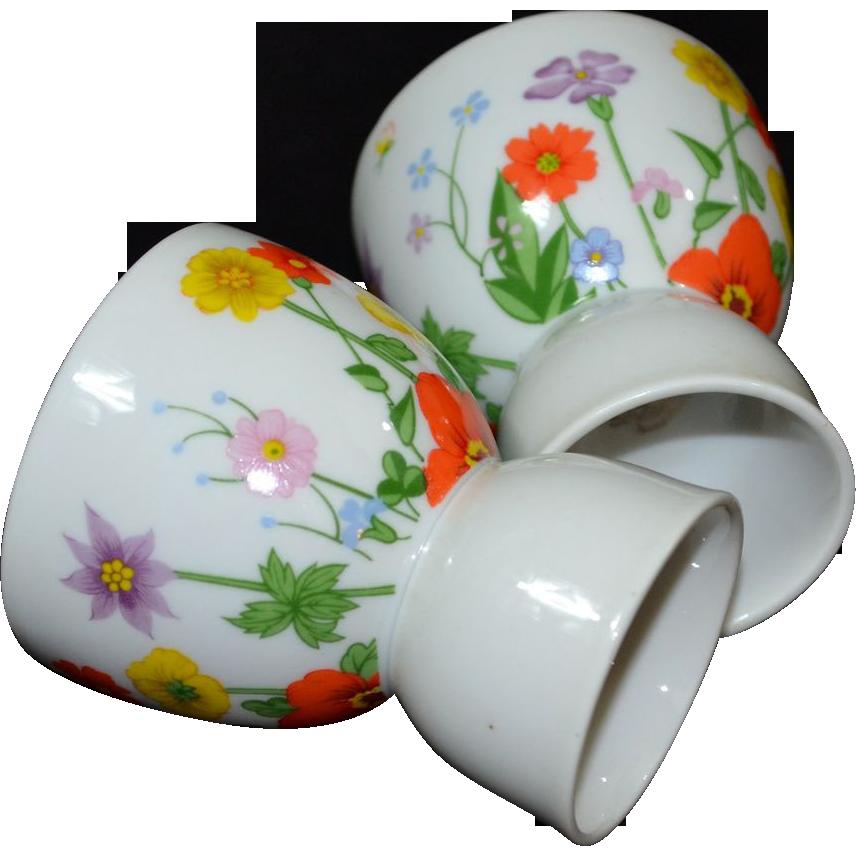Lefton ~ Set of 2 Handpainted Floral Porcelain Egg Cups