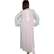 1980s Flora Nikrooz ~ Sheer Pink Bell-Sleeved Peignoir Robe