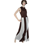 1960s Fred Rothschild ~ ILGWU Chocolate Swirl Maxi Dress