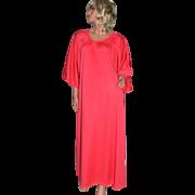 1970s Claire Haddad ~ Fuchsia Pink Nylon Maxi Hostess Gown