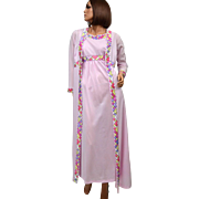 1970s Emilio Pucci ~ 2-Pc Pink Mauve Nylon Nightgown & Peignoir Robe
