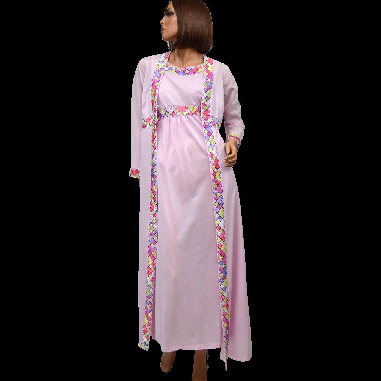 1970s Emilio Pucci ~ 2-Pc Pink Mauve Nylon Nightgown & Peignoir Robe