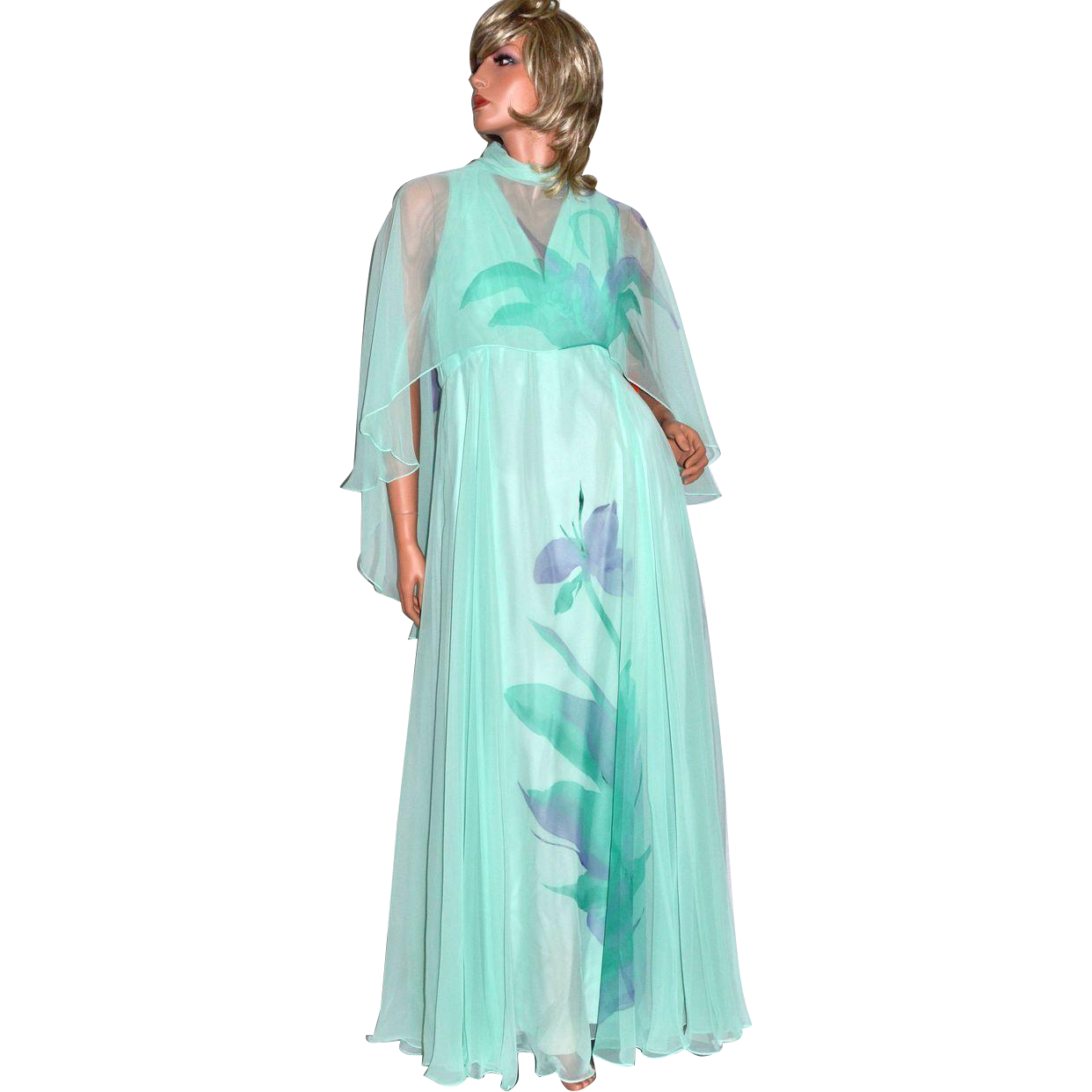 1970s Dan Lee Couture ~ Mint Green Floral Chiffon Dress w/ Shoulder Scarf