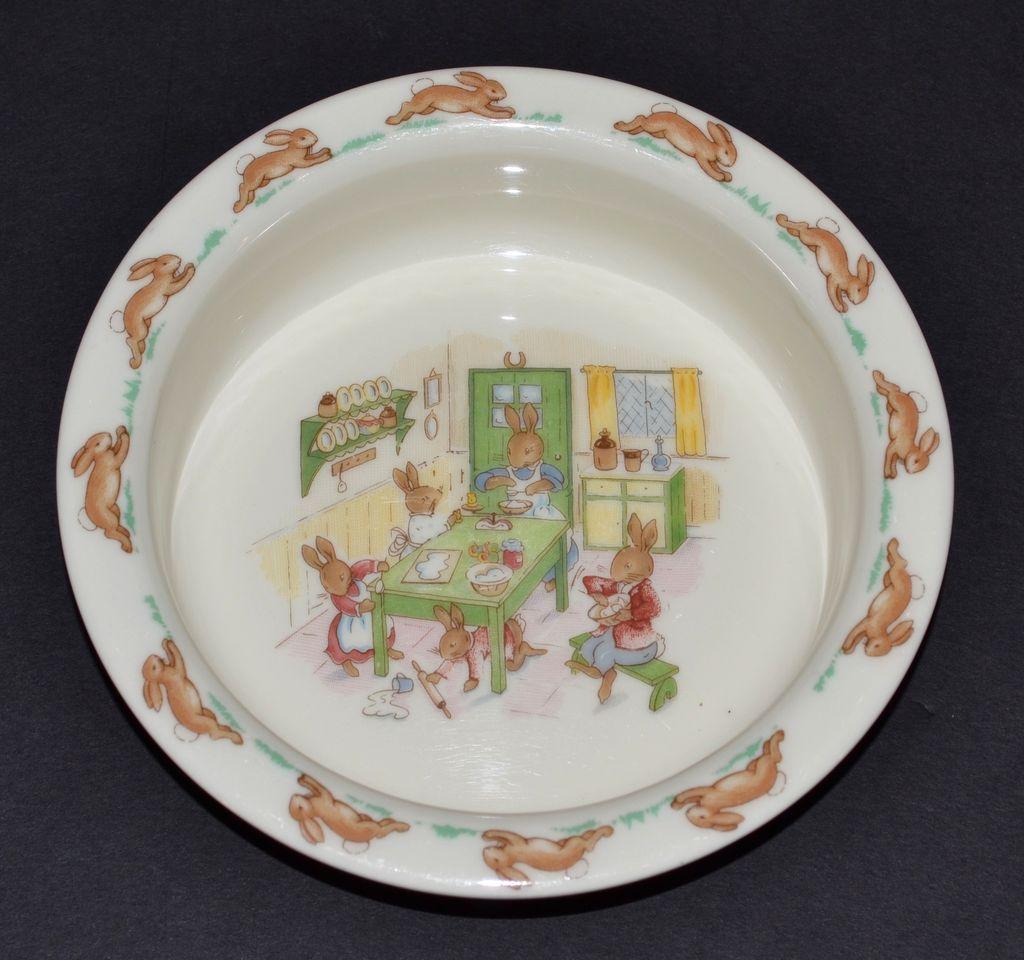 "Royal Doulton ~ Bunnykins ""Baking in the Kitchen"" Bone China Bowl"