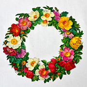 Large Glossy Floral Wreath Die-Cut Scrap
