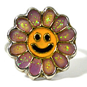 1960s Smiley-Face Flower Power Adjustable Ring