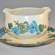 1960s Metlox Poppy Trail ~ Sculptured Grape Gravy Boat w/ Attached Plate