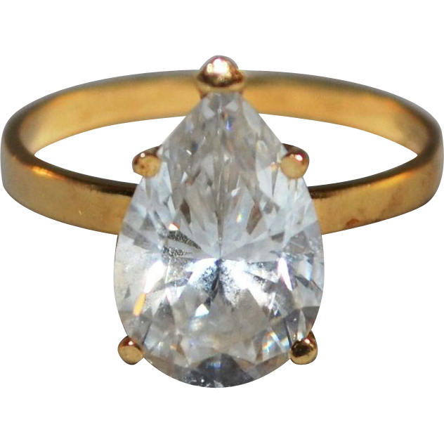 14K 2.5 ct tw Pear-Cut Cubic Zirconia Solitaire Ring