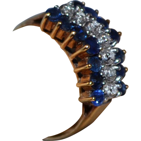 1960s 10K Natural Blue Sapphire & Diamond Ring