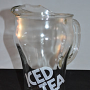 1970s Iced Tea Glass Pitcher w/ Ice Lip