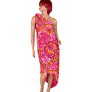 1960s Nikki's ~ Pucci-Inspired Pink Paisley Sarong Dress