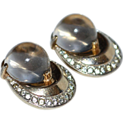 1940s Trifari Sterling ~ Lucite & Rhinestone Clip Earrings ~ Book Piece