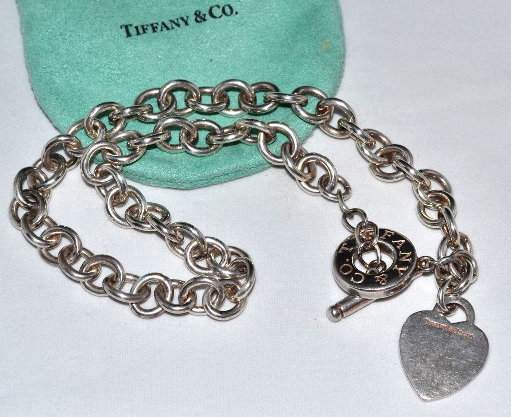 Tiffany & Co ~ Sterling Silver Heart Tag Toggle Necklace w/ Orig Pouch