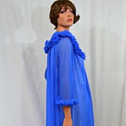 1960s ILGWU Royal Blue Chiffon Maxi Peignoir Robe