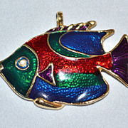 Large & Colorful Enamel Fish Pendant