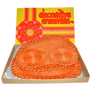 1960s Flower Power 4-Pc Orange Woven Abaca Hot Pads/Trivets ~ Mint in Box!