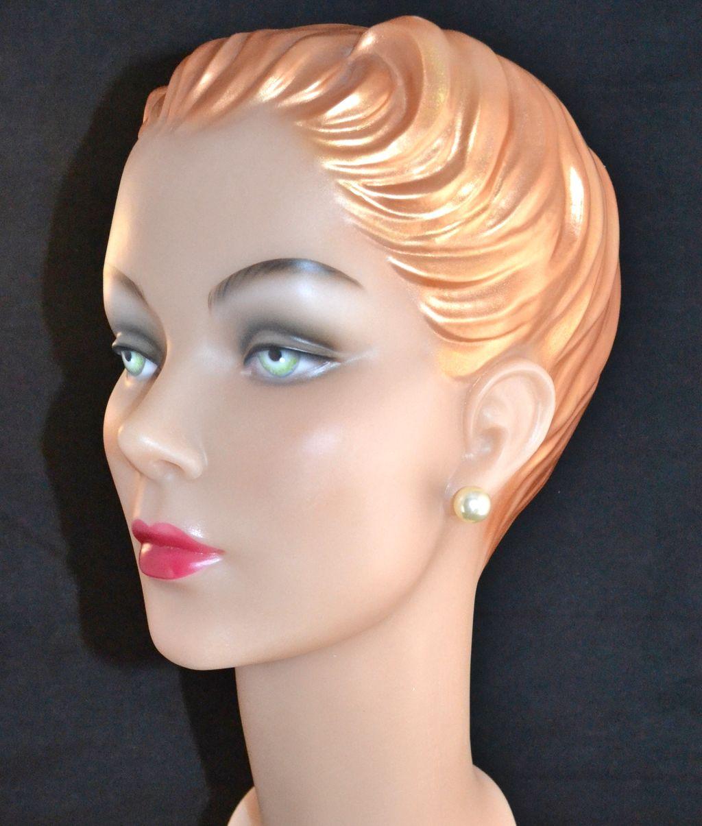 Large 13mm Faux Pearl Pierced Earrings