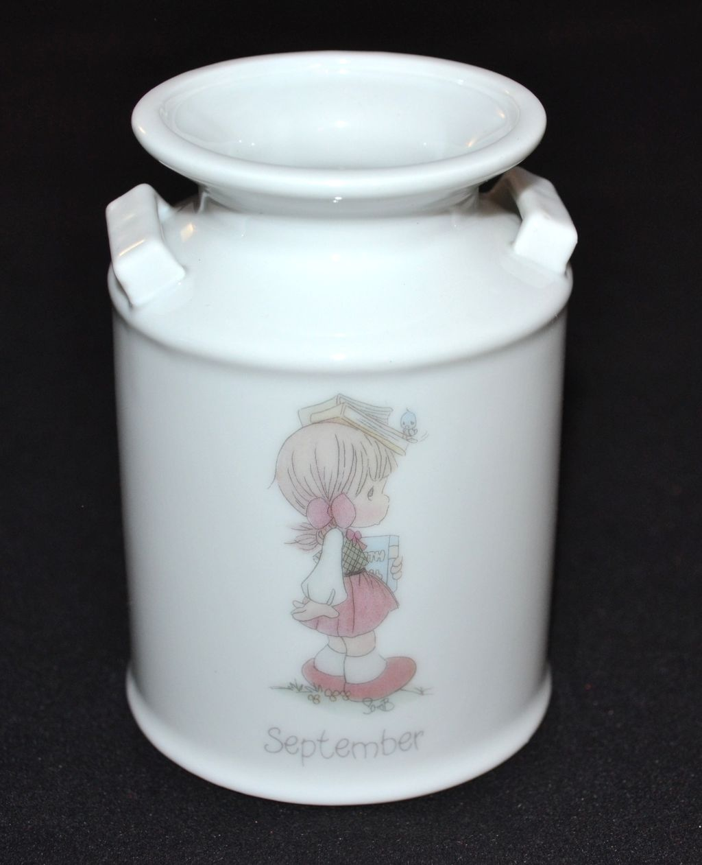 1987 Precious Moments ~ Porcelain September Crock Style Vase Collectible