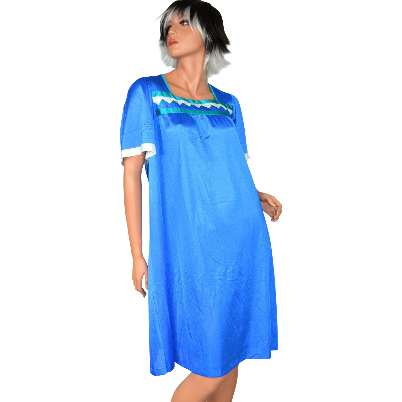 1960s Henson Kickernick ~ Sawtooth Pattern Cobalt Blue Nylon Nightgown