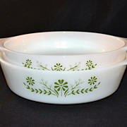 1970s Jeannette Glass ~ Set of 2 Green Flowers Milk Glass Dishes