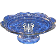 Embossed Glass Rose Pedestal Cake Plate