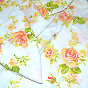 1960s Fieldcrest ~ Pink & Orange Rose No Iron Full Flat Sheet